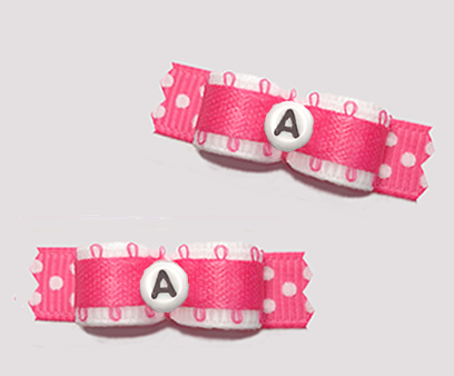 "#T9411 - 3/8"" Dog Bow - Sweet White/Pink w/Dots, Custom Letter"