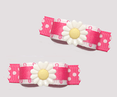 "#T9412 - 3/8"" Dog Bow - Delightful Daisy Dots, Pink/White"