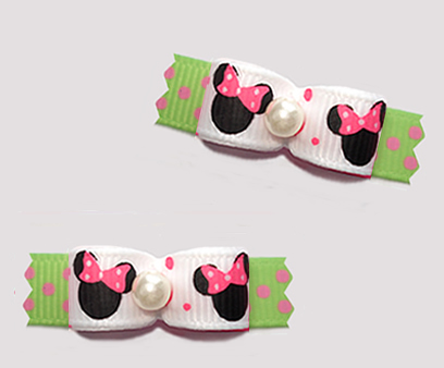 "#T9415 - 3/8"" Dog Bow - Cute Baby Minnie Mouse, Pink/White/Green"