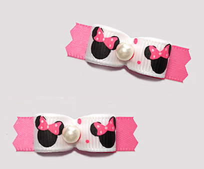"#T9418 - 3/8"" Dog Bow - Cute Baby Minnie Mouse, Pink/White"