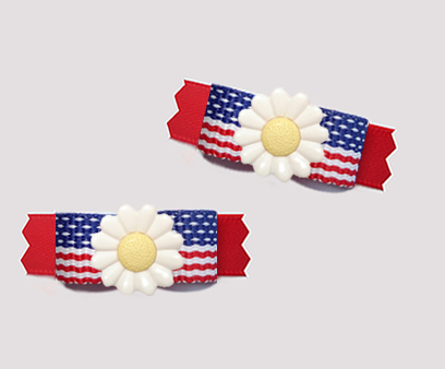 "#T9420 - 3/8"" Dog Bow - Patriotic Daisy, Stars & Stripes on Red"