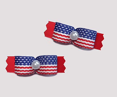 "#T9422 - 3/8"" Dog Bow - Stars & Stripes on Red, Faux Pearl"