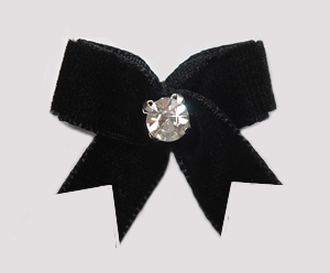 #VEL010 - Velvet Mini Dog Bow with Rhinestone Classic Black
