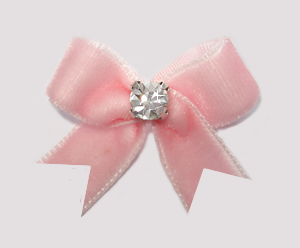 #VEL030 - Velvet Mini Dog Bow with Rhinestone Powder Pink