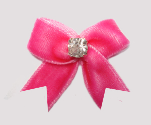#VEL080 - Velvet Mini Dog Bow with Rhinestone Perfect Pink