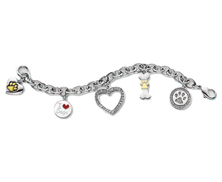 #J9537 - Rhodium Plated Dog Lover Bracelet with Crystal Heart