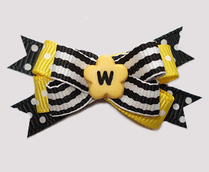 #BTQM948 - Mini Boutique Bow Bumblebee Stripes, Black/Yellow