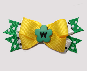 #BTQM953 - Mini Boutique Bow Sunny Daffodil Yellow w/Green