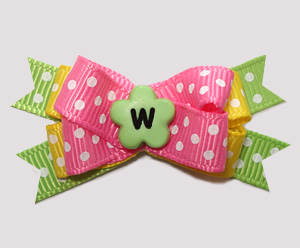 #BTQM955- Mini Boutique Bow Summer Brights, Pink/Yellow/Green