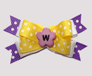 #BTQM956 - Mini Boutique Bow Cheery Dots, Yellow/Purple