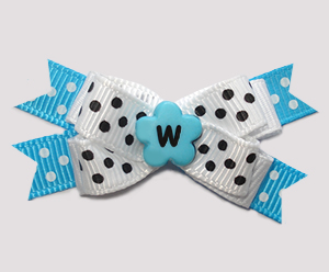 #BTQM957 - Mini Boutique Bow Fun Bright Blue with Dots