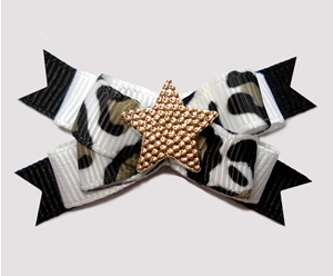#BTQM961 - Mini Boutique Bow Cute Camo Print on Black w/Star