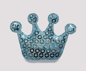 #BAR01074 - Dog Clip - Royal Crown, Sparkly Light Blue Sequin