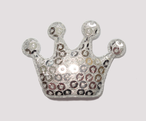 #BAR01079 - Dog Clip - Royal Crown, Sparkly Silver Sequin