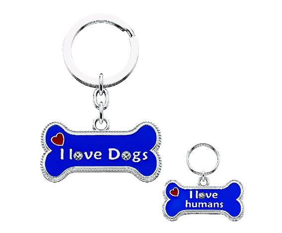 "Key Chain/Collar Charm Set - ""I Love Dogs / ""I Love Humans"""