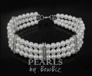 #214PRLW - Pearl Necklace w/ Rhinestone Accent White / Small