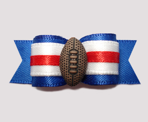 "#0587 - 5/8"" Dog Bow - Football, Blue/White/Red"