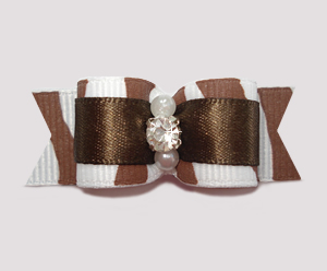 "#0588 - 5/8"" Dog Bow - Zowie Zebra, Chocolate Brown"