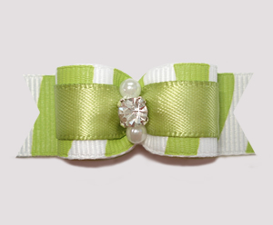"#0589 - 5/8"" Dog Bow - Zowie Zebra, Sage Green"