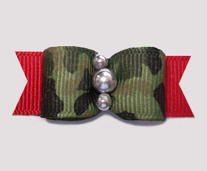 "#0593 - 5/8"" Dog Bow - Army Camouflage Print on Red, Silver"