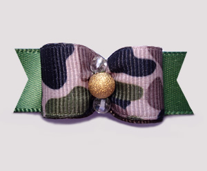 "#0594 - 5/8"" Dog Bow - Tan Camouflage Print on Army Green, Gold"