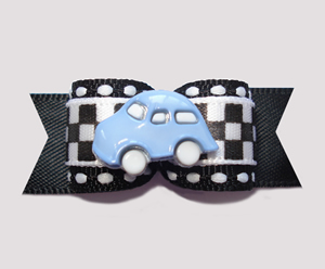 "#0602 - 5/8"" Dog Bow - Race Track Checkered Flag, Blue Car"