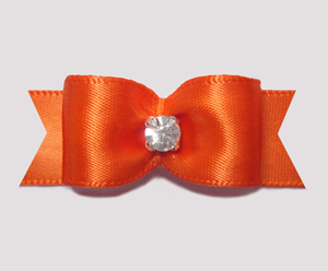 "#0608 - 5/8"" Dog Bow - Satin, Vibrant Orange, Rhinestone"