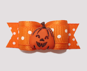 "#0615 - 5/8"" Dog Bow - Happy Pumpkin, Orange/White Dots"