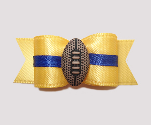 "#0622 - 5/8"" Dog Bow - Football, Yellow with Blue"