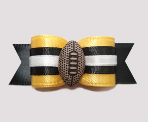 "#0623 - 5/8"" Dog Bow - Football, Yellow with Black"