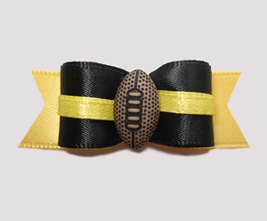 "#0624 - 5/8"" Dog Bow - Football, Black with Yellow"