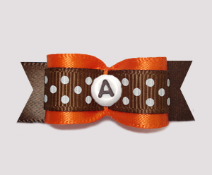 "#0629- 5/8"" Dog Bow- Custom- Vibrant Orange/Brown, Choose Letter"