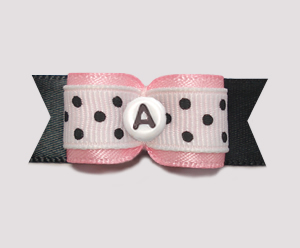 "#0633- 5/8"" Dog Bow- Custom- Baby Pink/Black Dots, Choose Letter"
