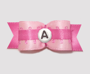 "#0635 - 5/8"" Dog Bow - Custom - Pretty In Pink, Choose Letter"