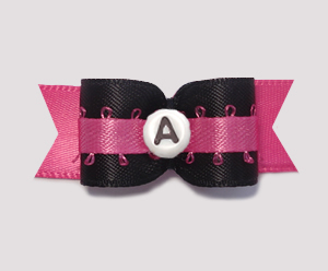 "#0636- 5/8"" Dog Bow- Custom Dramatic Hot Pink/Blk, Choose Letter"
