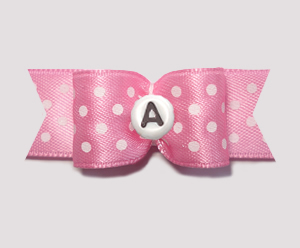 "#0640 - 5/8"" Dog Bow - Custom - Little Sugar Pink, Choose Letter"