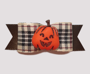 "#0647 - 5/8"" Dog Bow - Happy Pumpkin, Designer Plaid Tartan"