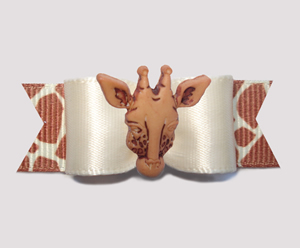 "#0649 - 5/8"" Dog Bow - Cream Satin with Exotic Giraffe"