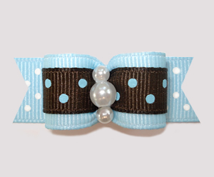 "#0650 - 5/8"" Dog Bow - Sweet Chocolate and Blueberry, Dots"