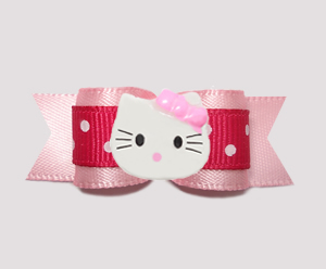 "#0655 - 5/8"" Dog Bow - Raspberry Pink on Pink, Little Kitty"