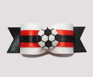 "#0656 - 5/8"" Dog Bow - Soccer, Red & White with Black"