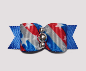 "#0660 - 5/8"" Dog Bow - Patriotic Stars 'n Stripes Forever, Blue"