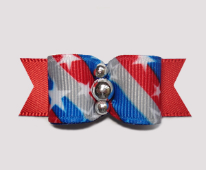 "#0661 - 5/8"" Dog Bow - Patriotic Stars 'n Stripes Forever, Red"