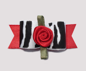 "#0666 - 5/8"" Dog Bow - Wild Zebra Print w/Red Rosette"