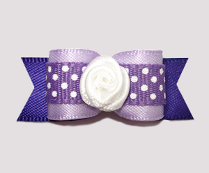 "#0668 - 5/8"" Dog Bow - Lavender 'n Purple w/Dots, White Rosette"