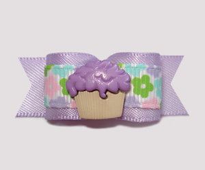 "#0676 - 5/8"" Dog Bow - Cute Little Cupcake, Sweet Lavender"