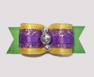 "#0677 - 5/8"" Dog Bow - Mardi Gras Colors with Glitter"