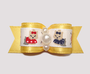 "#0684 - 5/8"" Dog Bow - Darling Yorkies on Yellow Satin, Pearls"