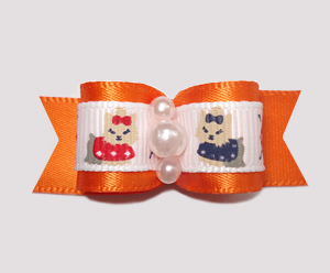 "#0685 - 5/8"" Dog Bow - Darling Yorkies, Orange Satin, Pearls"