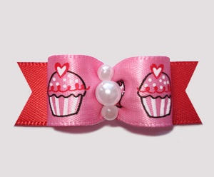 "#0695 - 5/8"" Dog Bow - Adorable Sweetheart Cupcakes on Red"